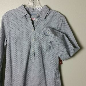 NWT Merona Blue Button Down Long Sleeve Shirt P/S